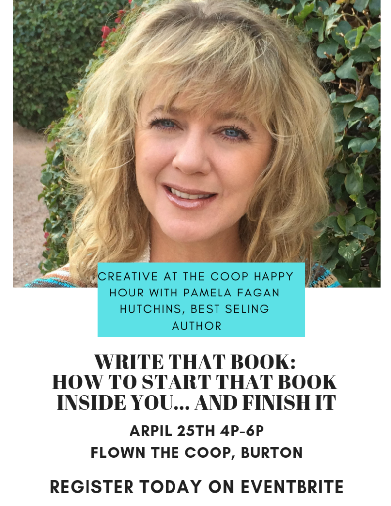 Creative at the coop happy hour with Pamela Fagan Hutchins, award winning author